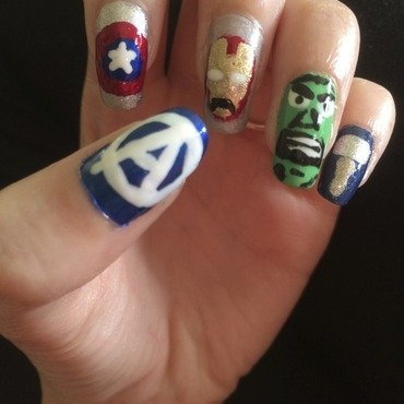 Avengers nail art by Saralicia Mustain