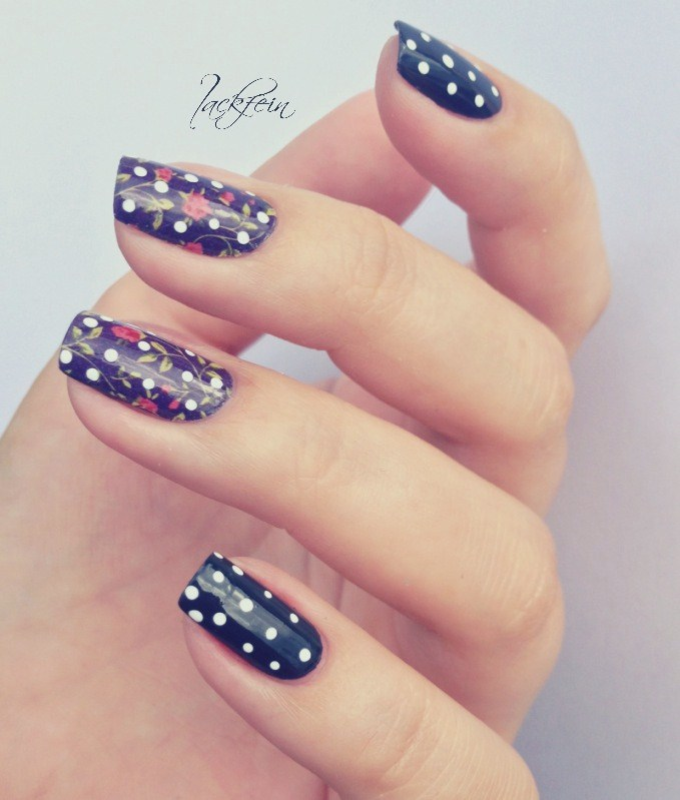 Flowers & Polka Dots nail art by lackfein