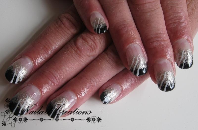 Chique Black  nail art by Nailart Creations