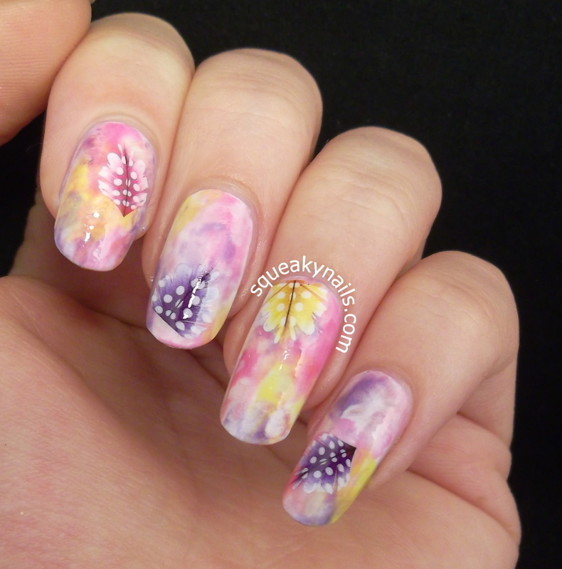 Watercolours and Feathers nail art by Squeaky  Nails