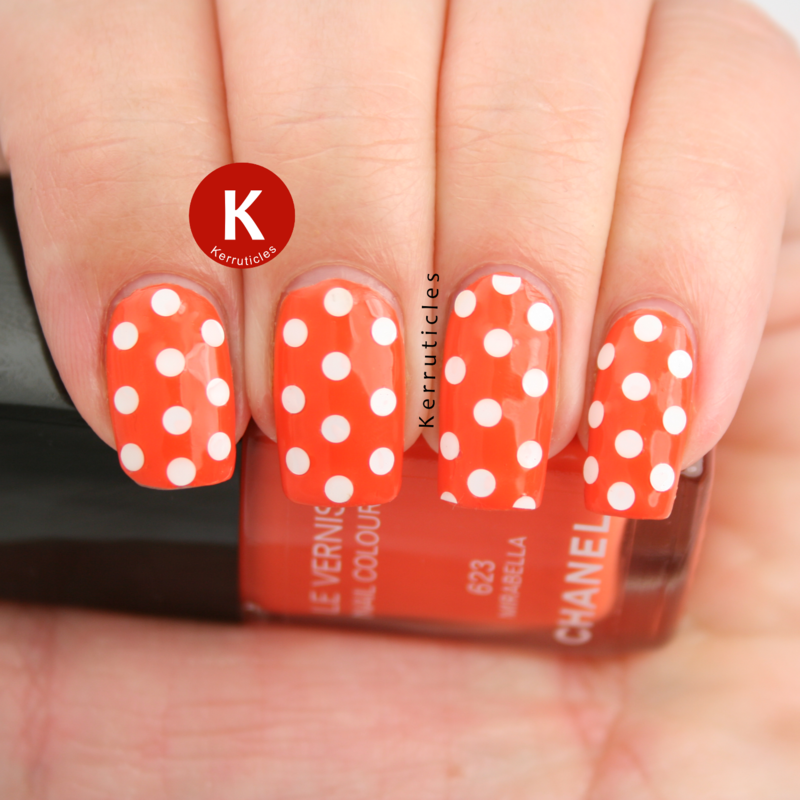 Chanel Mirabella with round glitter polka dots nail art by Claire Kerr