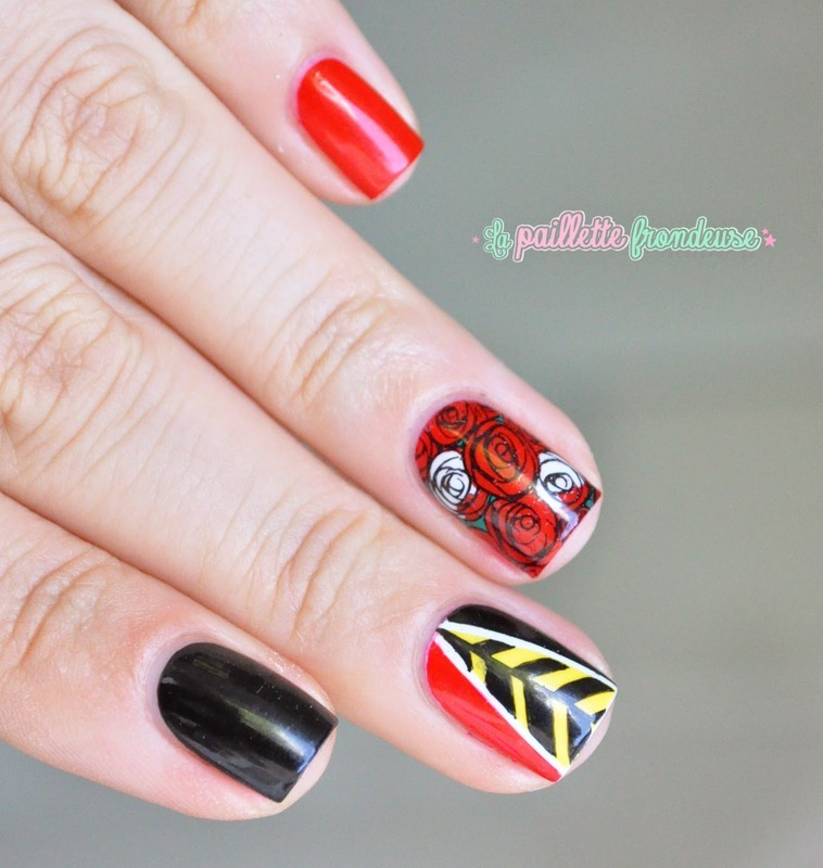 Hearts queen - Alice in wonderland nail art by nathalie lapaillettefrondeuse