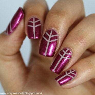Pink and Nude Striping Tape Mani nail art by Vicky Standage