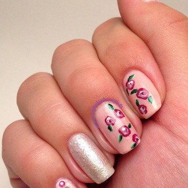 Rose garden nail art by Anna Malinina