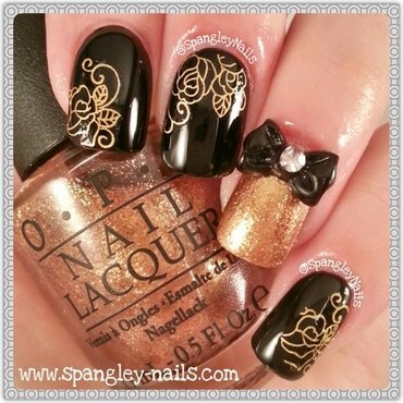 Gold Water Decal Nail Art nail art by Nicole Louise