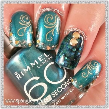 Green & Gold Water Decal Nail Art nail art by Nicole Louise