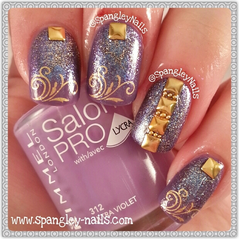 Purple & Gold Water Decal Nail Art nail art by Nicole Louise