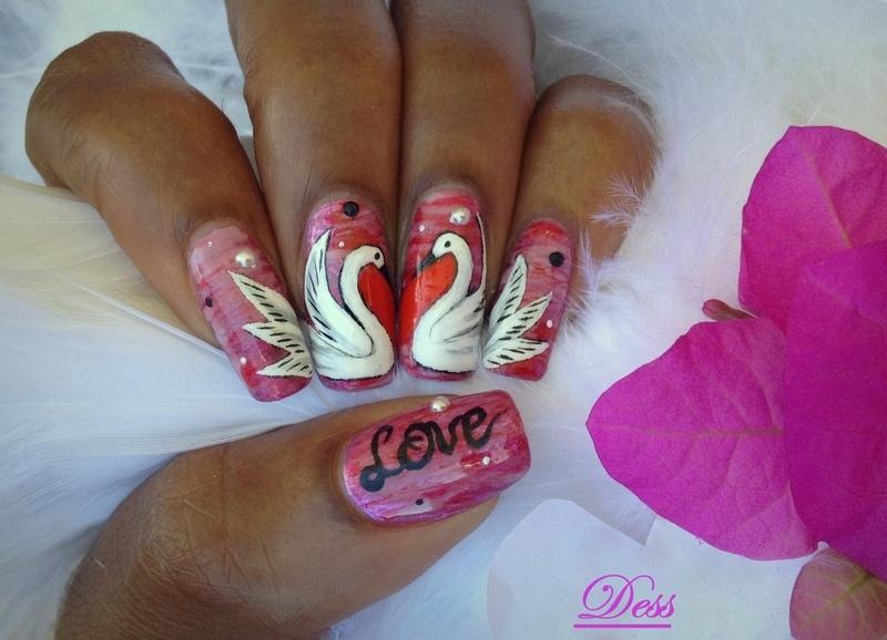 <3 birds nail art by Dess_sure