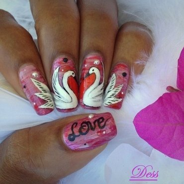 <3 birds nail art by Dess_sure