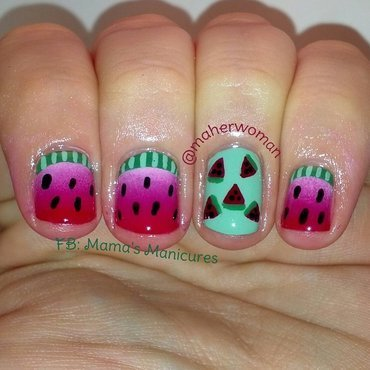 Fun Watermelon Nails nail art by Mama's Manicures (maherwoman)