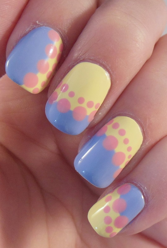 Yellow, Blue and Pink nail art by Lyndsey