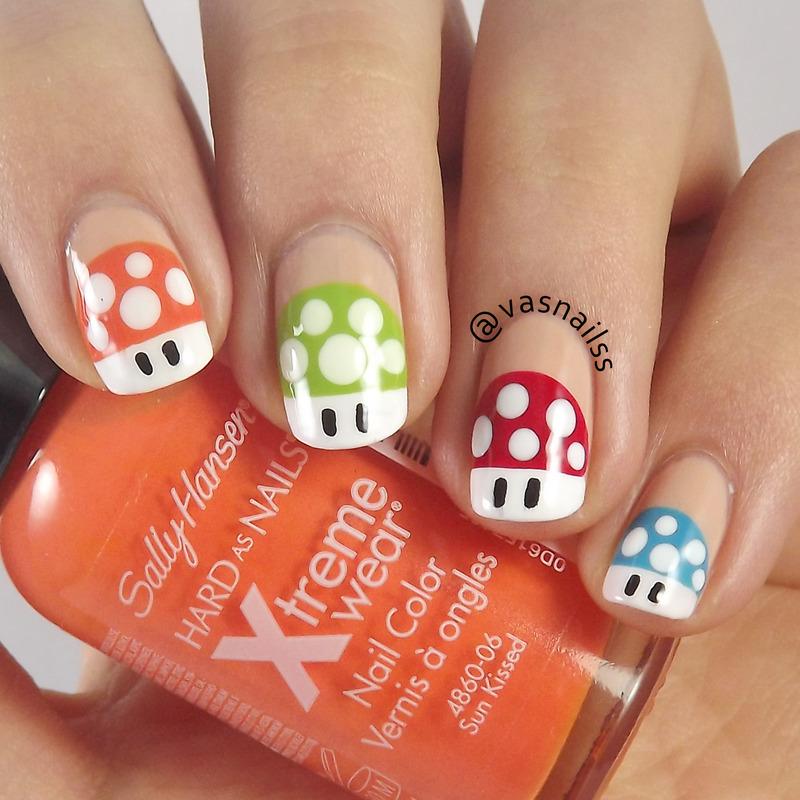 Mario Bros Mushrooms nail art by  Vanesa