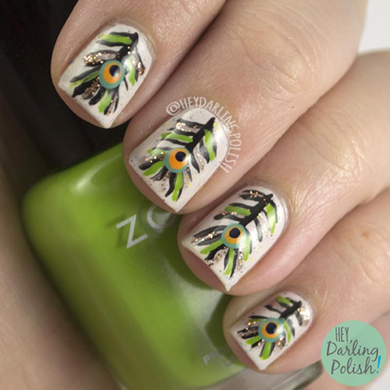 Peacock Feathers nail art by Marisa  Cavanaugh