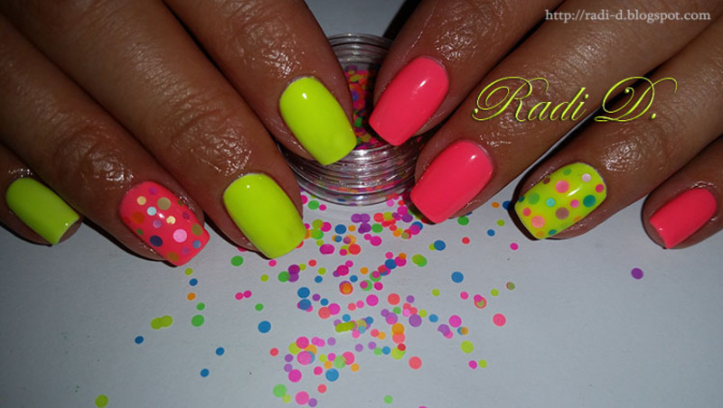 Neon gel polish with colorful circles from Born Pretty Store nail ...