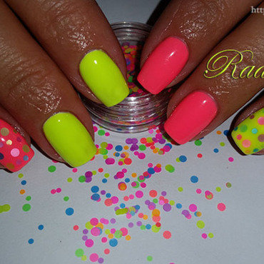 Neon gel polish with colorful circles from Born Pretty Store nail art by Radi Dimitrova