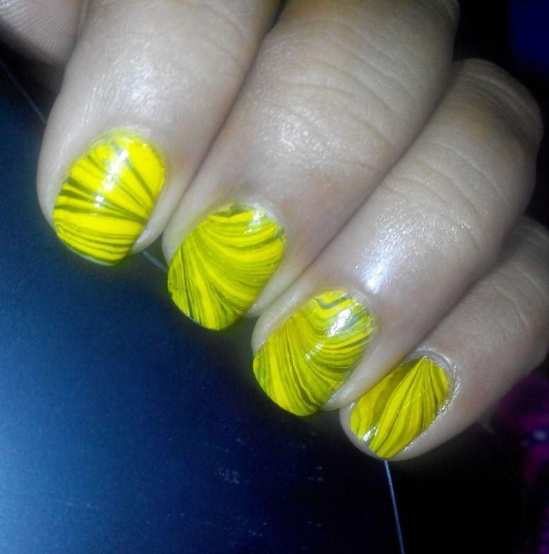 Yellow and Green Water Marble nail art by Nailfame