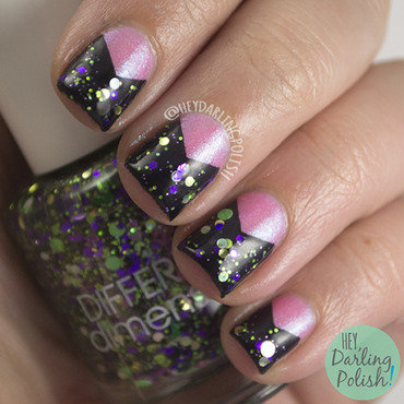 Pink black chevron glitter nail art 4 thumb370f
