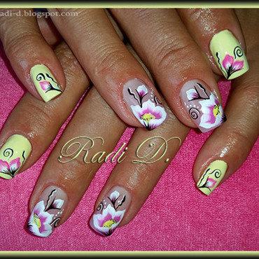 Pastel Yellow & Flowers nail art by Radi Dimitrova