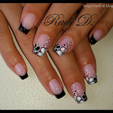 Black French with Black & White flowers nail art by Radi Dimitrova