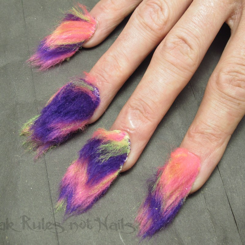 Fluffy fabric nail art by Michelle
