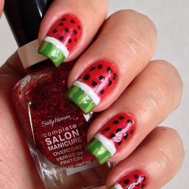 Watermelon Nails nail art by Debbie