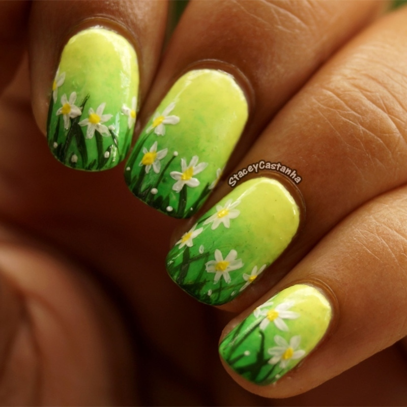 Daisies nail art by Stacey  Castanha