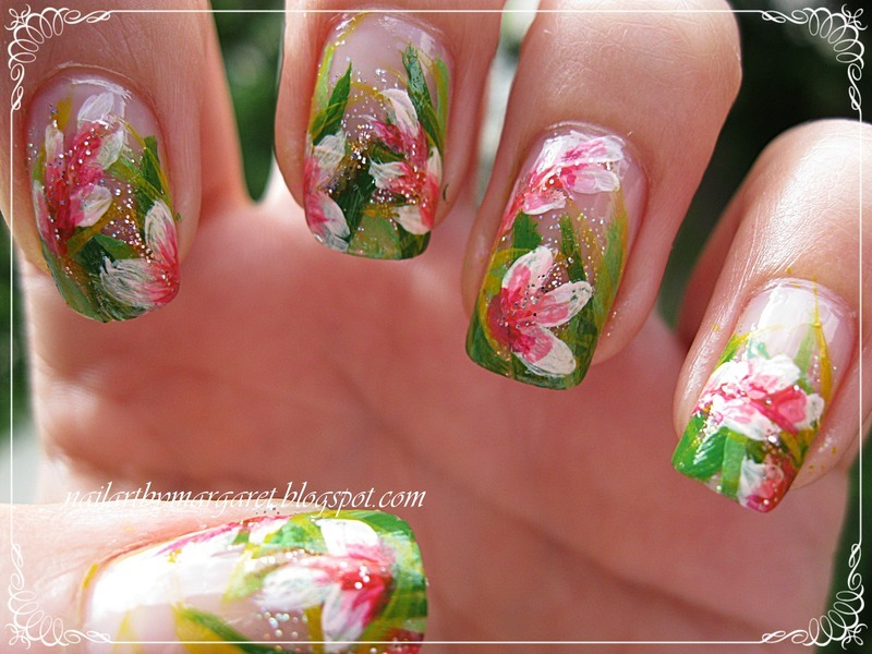 Tropikalne kwiaty nail art by Margaret Nail Art