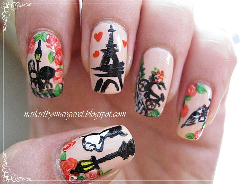 Paris in love nail art by Margaret Nail Art