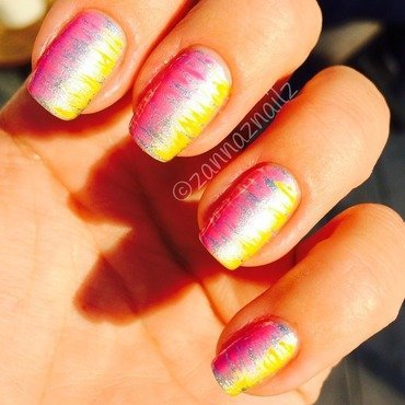 Silver neons nail art by Sanna
