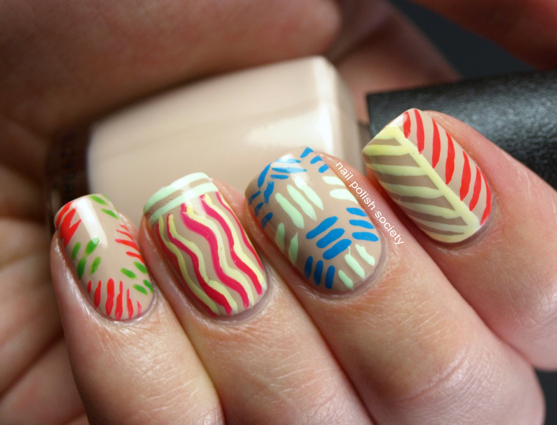 Abstract Neons and Nude nail art by Emiline Harris