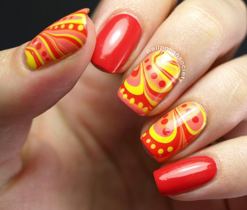Bright n' Hot Watermarble nail art by Emiline Harris