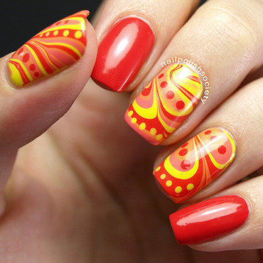 Bright n' Hot Watermarble nail art by Emiline Harris