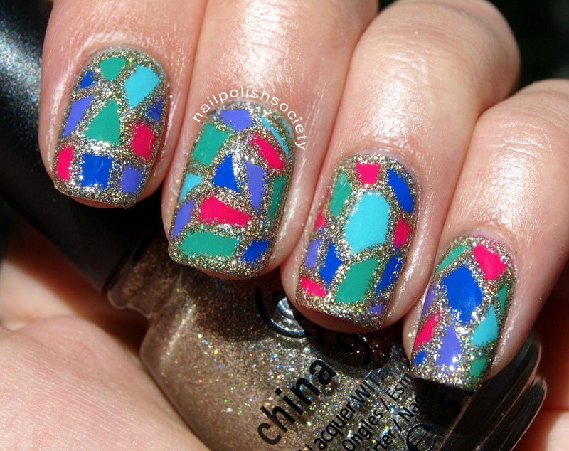 Holographic Stained Glass nail art by Emiline Harris