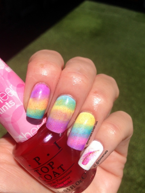 Rainbow nail art by Donner