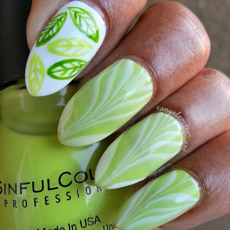 Water Marble & Leaves nail art by Tonya
