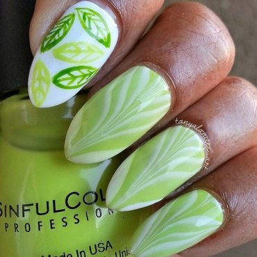 Water Marble & Leaves nail art by Tonya
