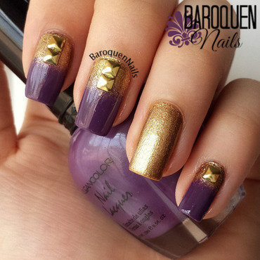 Purple And Gold Studded Gradient nail art by BaroquenNails