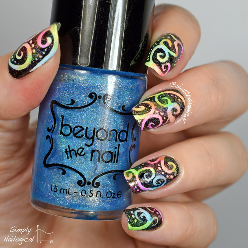 Leadlighting with neon holo jellies nail art by simplynailogical