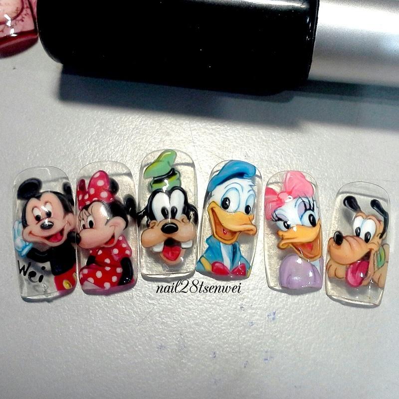 Mickey family nail art by Weiwei