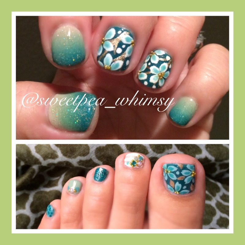Teal Green Floral & Gradient nail art by SweetPea_Whimsy
