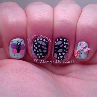 Butterflies three ways nail art by Mama's Manicures (maherwoman)