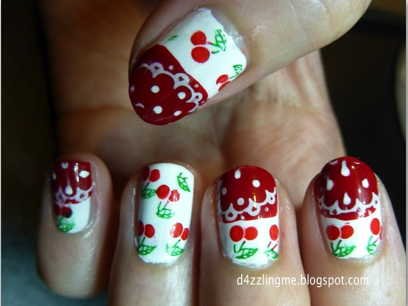 Cherry Nails  nail art by D4zzling Me