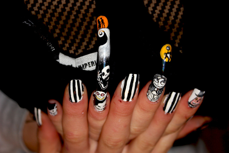 Nighmere before Christmas nail art  nail art by Giulia Cecchini