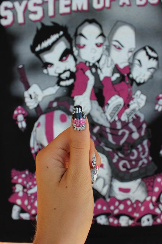 System Of a Down (SOAD)  nail art nail art by Giulia Cecchini