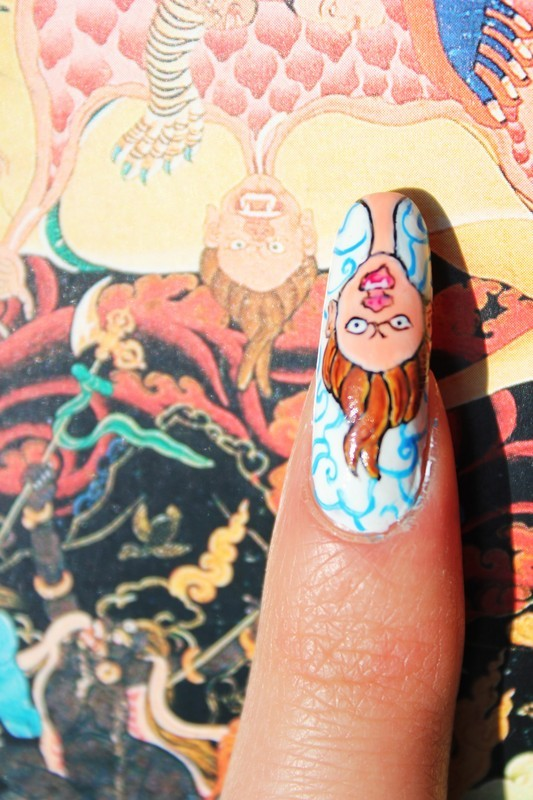 Indian monsters nail art by Giulia Cecchini