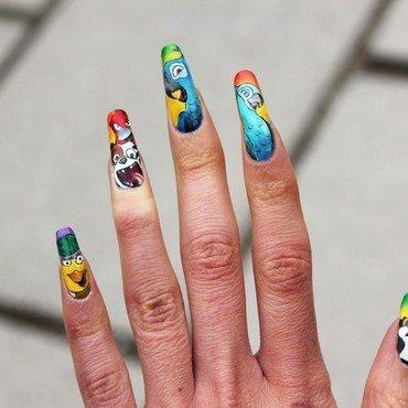 Rio cartoon nail art by Giulia Cecchini