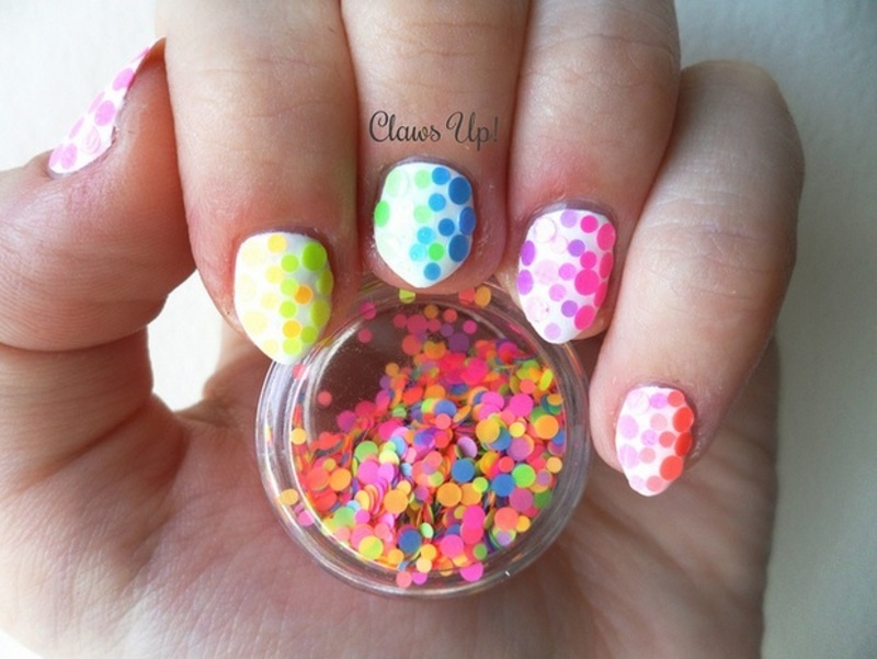 Neon Glitter Gradient nail art by Jacquie