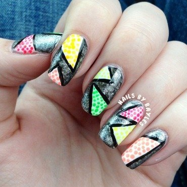 Neon Triangle Nails  nail art by Baylie