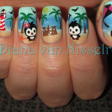 Penguins at the beach nail art by Diana van Nisselroy