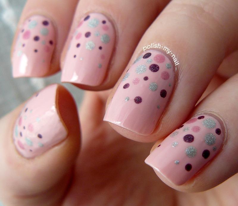 Pink dotticure nail art by Ewlyn